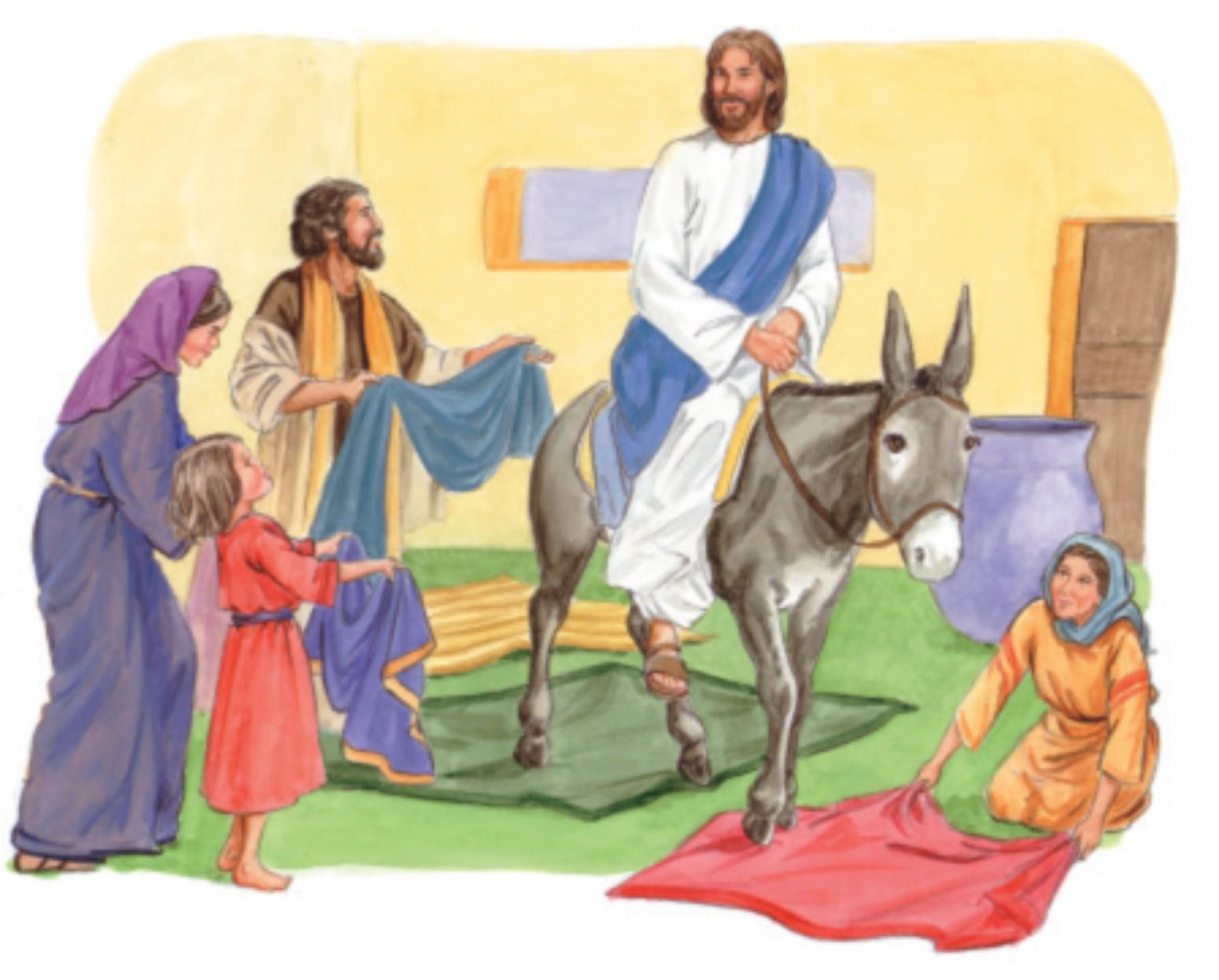 Encantador Dibujo De Jesús En Un Burro Para Colorear Componente ...