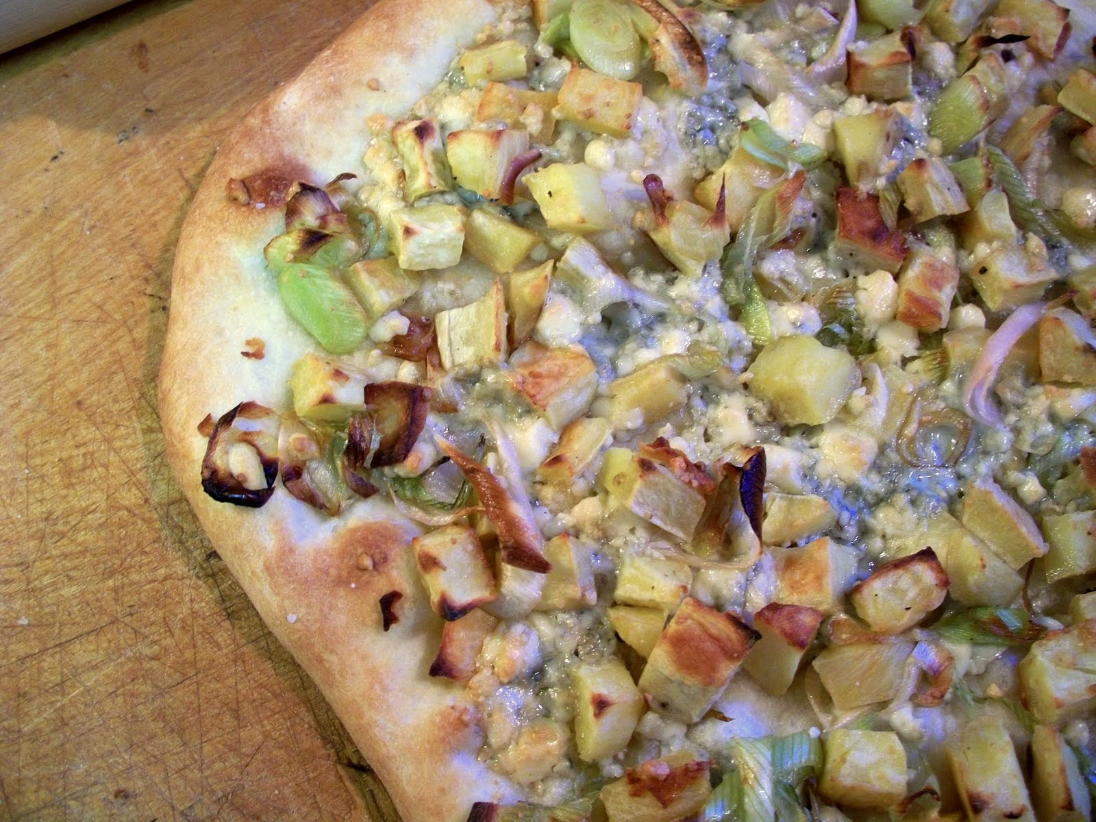 Robyn Cooks: Pizza with Sweet Potatoes, Leeks, and Blue Cheese