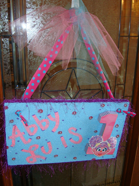 This is the sign I made hanging on the front door. Step by step directions are here. & Your Little Birdie: Abby Cadabby Birthday Ideas Decor and Crafts