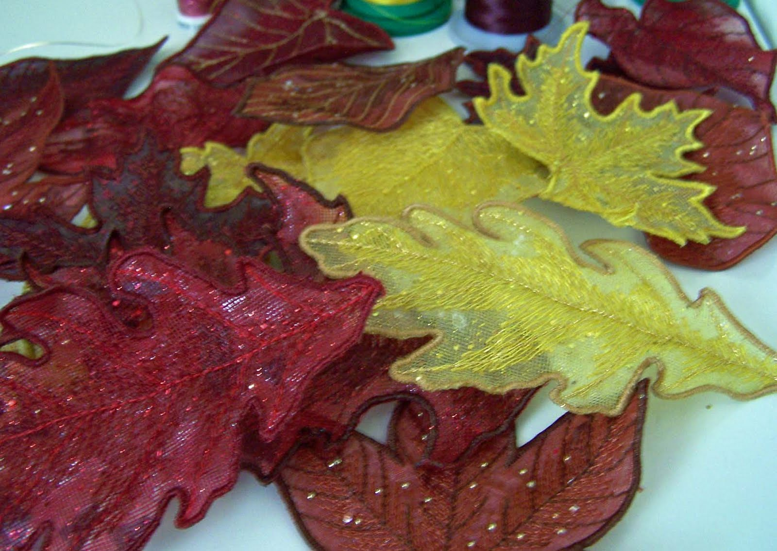 Treasures n textures fall leaves from my embroidery machine