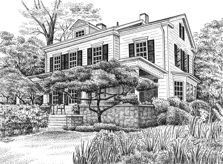 Pen House Drawing Custom Pen And Ink Drawing of