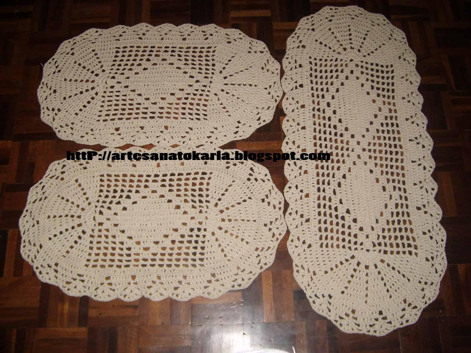 Crochetando com a Karla: Jogo de Tapete em Barbante: artesanatokarla.blogspot.com/2009/02/jogo-de-tapete-em-barbante.html