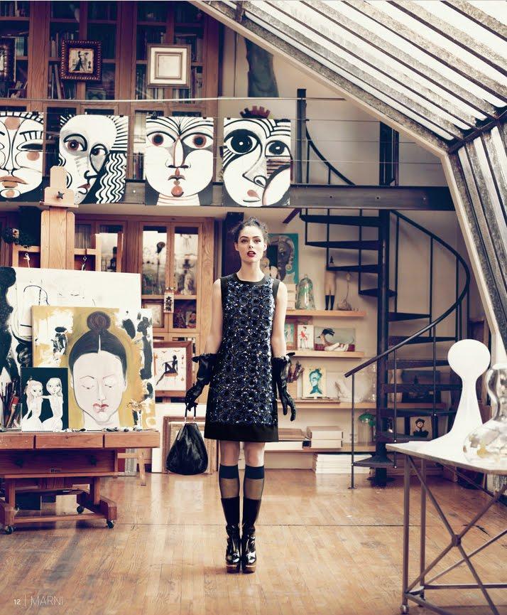 the new york loft studio above of artist ruben toledo is similarly