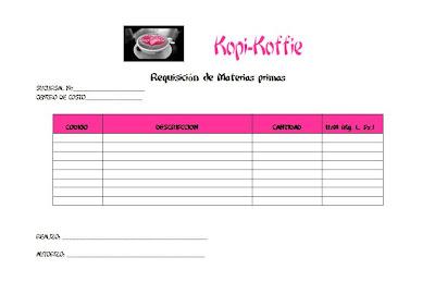 K p k ffi formato requisici n de materias primas e insumos for Lista de materiales de cocina