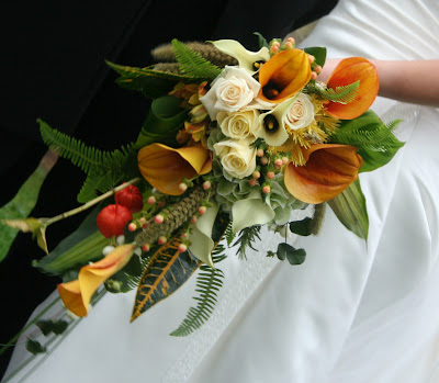 Cascading Autumn Bridal Bouquet of Phisalis Mango Calla Lilies Wheat