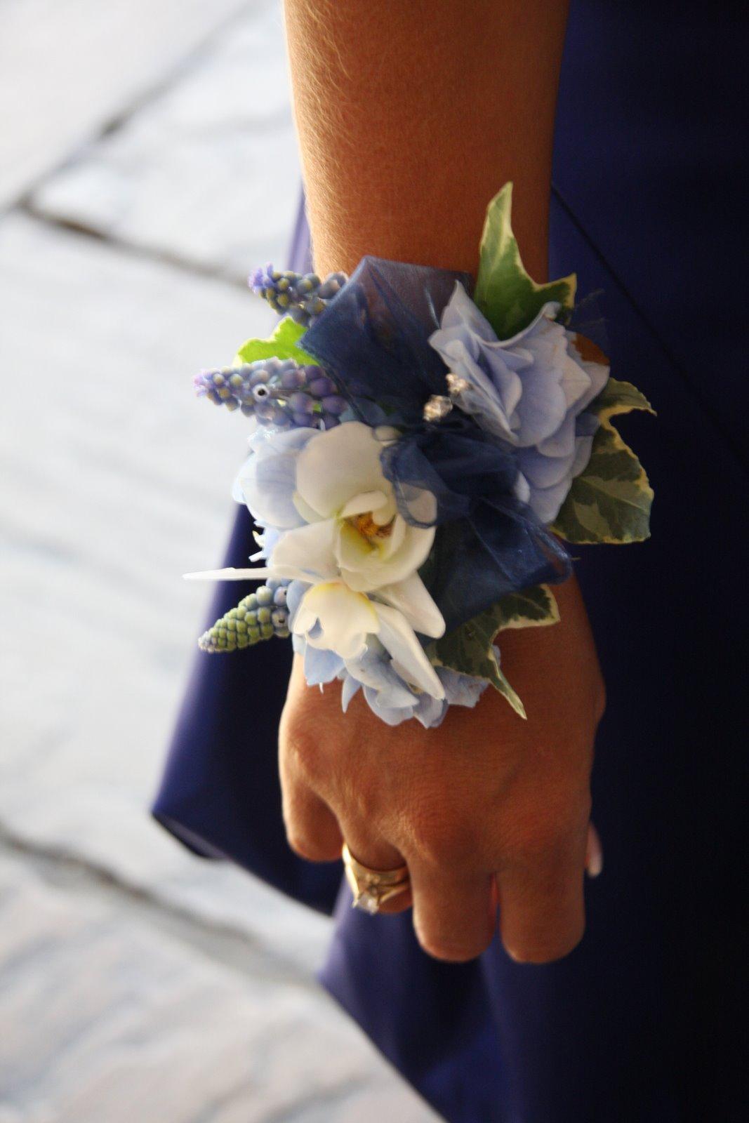 Flower Design Buttonhole Corsage Blog Blue Ivory Wrist Corsage