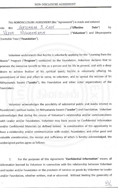 Nithyananda Agreement paper with lady devotee- page 2
