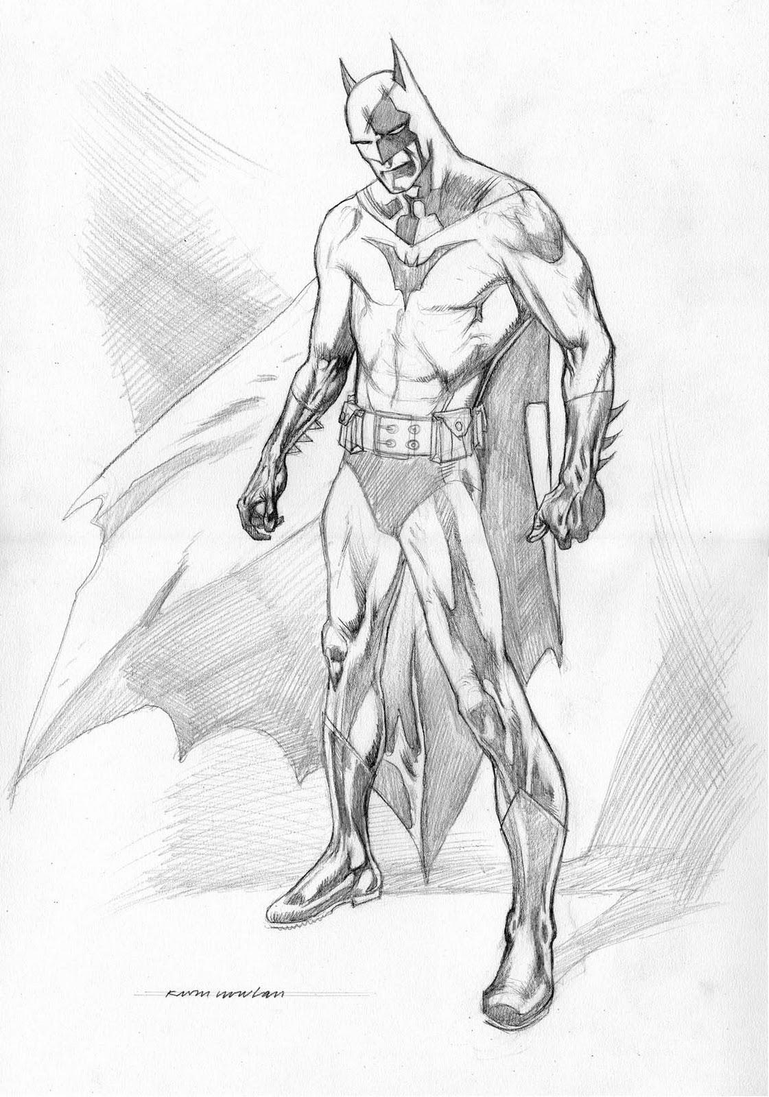 Kevin Nowlan: Batman pencil drawing Batman Drawing In Pencil Easy