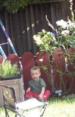 James in the back yard