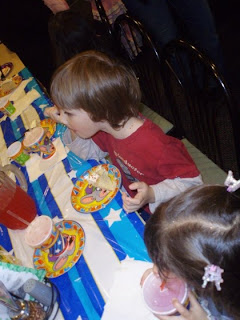 James is enjoying his first school friend birthday party