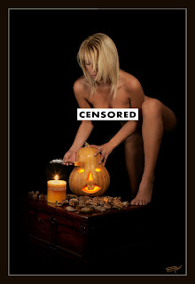 Censored nude photo of a woman carving a pumpkin, by photographer Emil Jianu