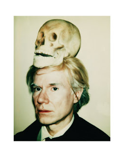 Portrait of Andy Warhol with a skull on his head