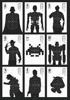 shooting range target featuring Darth Vader, the Terminator, a zombie, Freddy Kreuger, a Space Invader, Megatron, Godzilla, Agent Smith, and Goomba