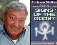 غلاف كتاب علامات الآلهة للمؤلف إيريخ فون دانيكن ، يتحدث عن آلة تصدر آثار إشعاعية في تابوت العهد