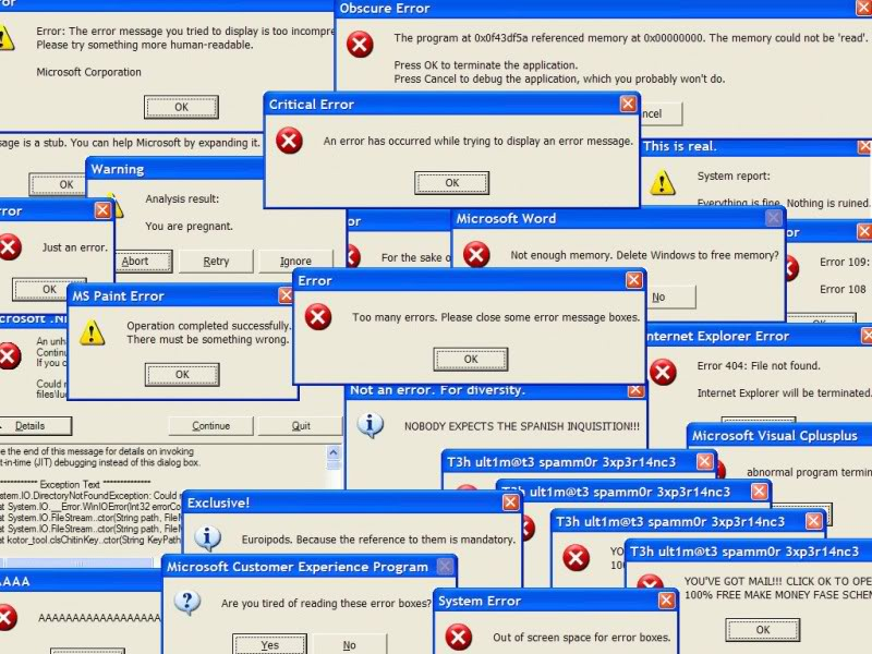 Миры забавные сообщения об ошибках Windows | TechSource