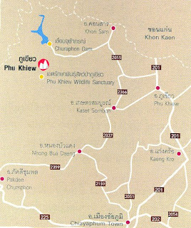 Phu Khiew Map, Chaiyaphum Province at thailand-mountains.blogspot.com