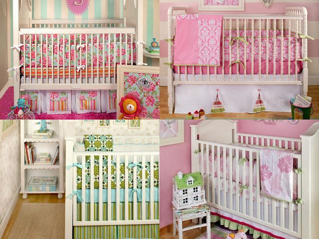 A polka dot moon designer girls baby bedding by new arrivals inc - Modern baby girl crib bedding ...