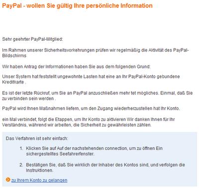paypal konto probleme