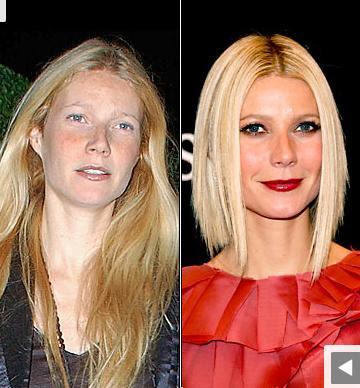 Gwyneth Paltrow sans maquillage avec maquillage