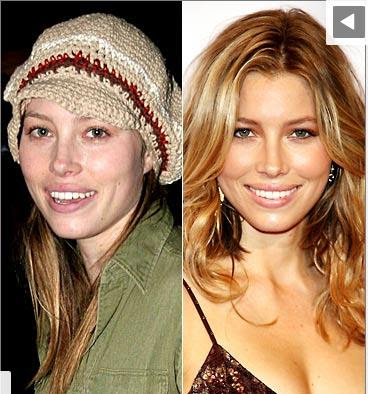 Jessica Biel sans maquillage avec maquillage make up