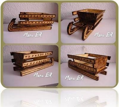 Decoraci n pirograbados manu br for Trineo madera decoracion