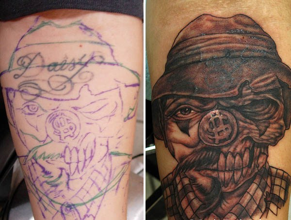 """Since there was no way to cover this large """"Cindy"""" tattoo, he just converted"""