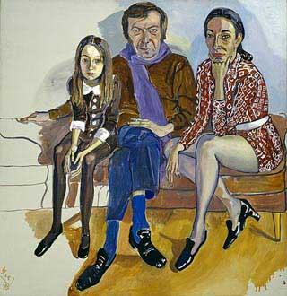 Hier de kunstcriticus Gruen met zijn gezin. Neel was een artists artist, ze werd decennia lang alleen door kenners gewaardeerd. Toch heeft meneer Gruen het schilderij niet gekocht. Toen hij het eindresultaat zag zei hij dat hij het niet kon betalen. Wat zullen zijn erfgenamen nu balen. Net goed.