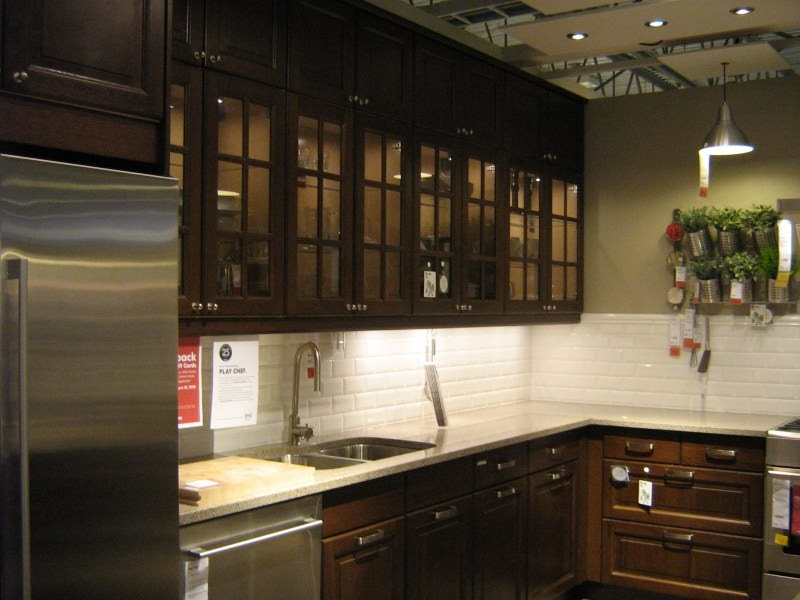 Pictures of ikea kitchens dark wood glass door ikea for Black kitchen cabinets with glass doors