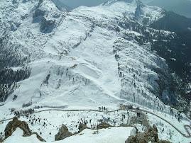 Passo Falzarego visto dalla cima del Lagazuoi