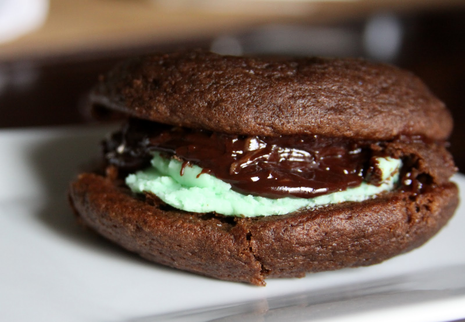 Foodie Fridays: Whoopie Pies with Mint Filling and chocolate Ganache ...