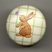 Green Plaid Bunny Knob