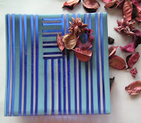 Blue fused glass stripe plate