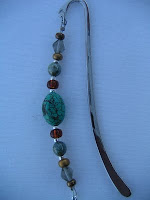 Silver and Turquoise Beaded Bookmark