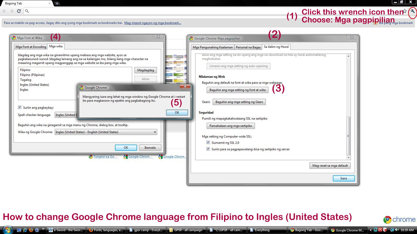 How to change Google Chrome language from Tagalog to English