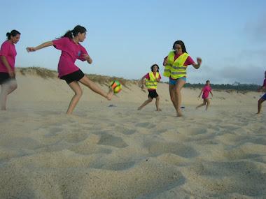Entrenando na praia