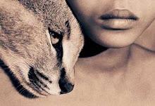 Ojos felinos, labios humanos