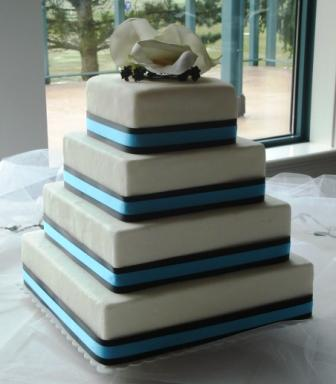square wedding cakes aqua