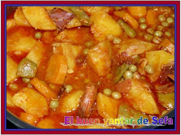El buen yantar de sefa patatas con chorizo y verduras - Judias con chorizo y patatas ...