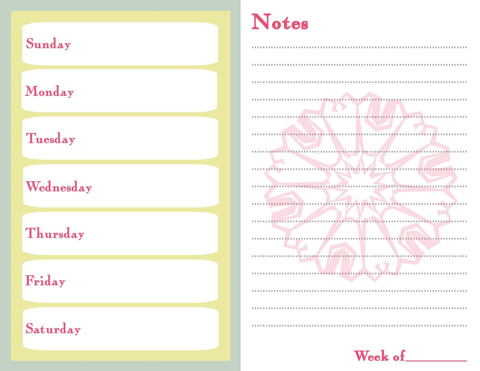 camping menu planner template - 7 day menu planner template