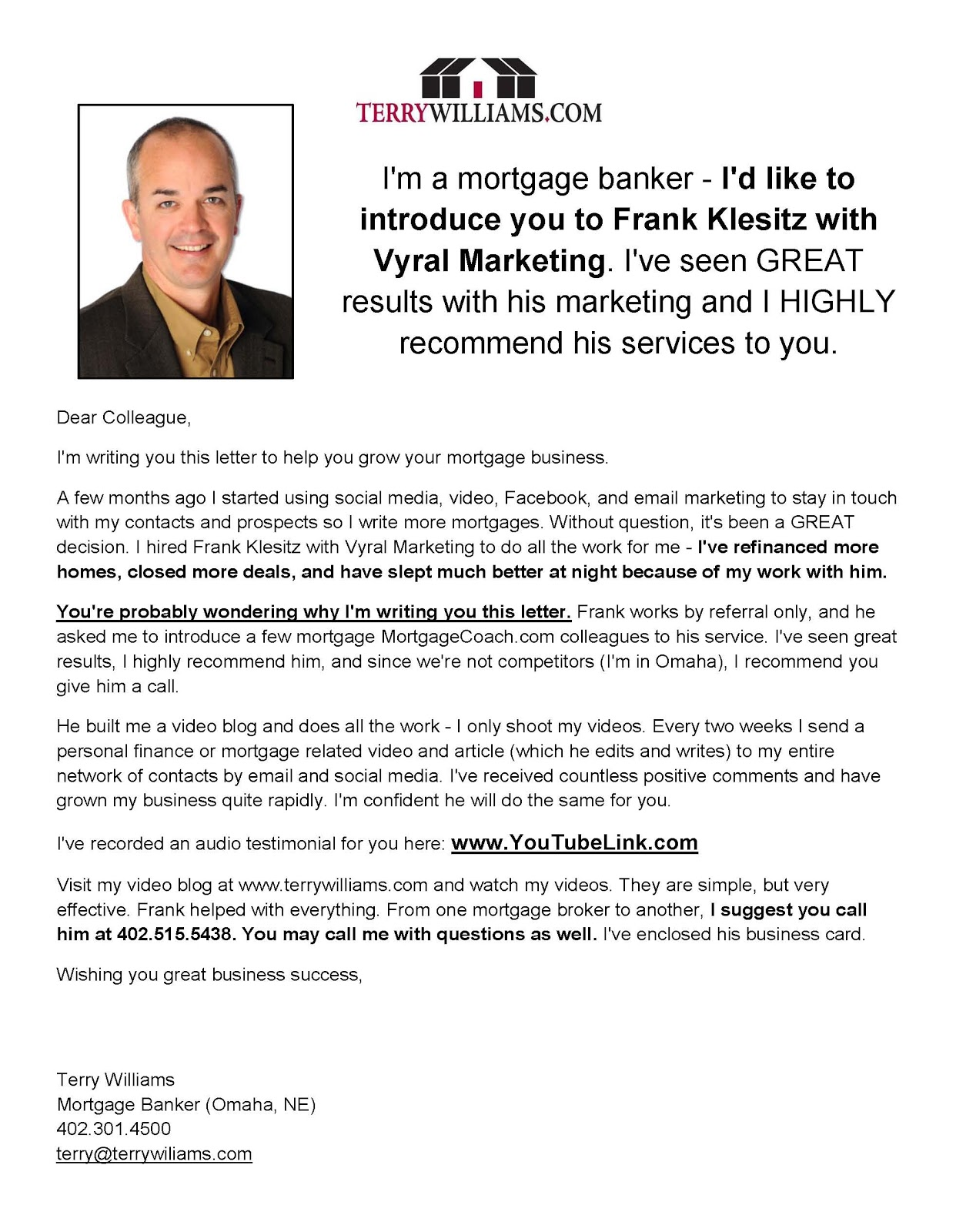 how to write a marketing letter to get clients example