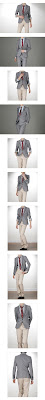 grey blazer, red tie, grey button-up shirt, khakis, black dress shoes, no belt