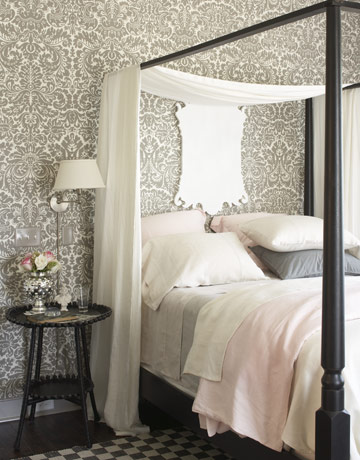 by using a metallic and teal damask wallpaper with gilt and mirrored
