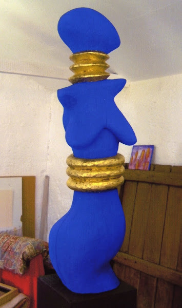 blue wooden goddess