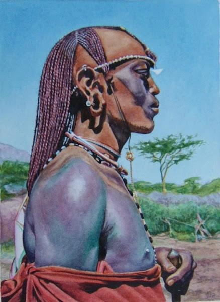 Masai Man  watercolour early 80s