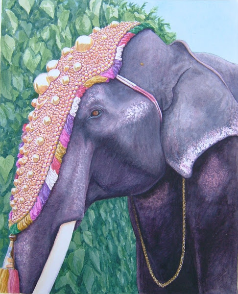 Elephant in Cochin   watercolour 90s