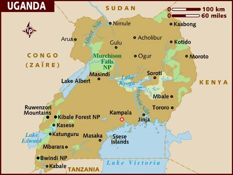 world map uganda