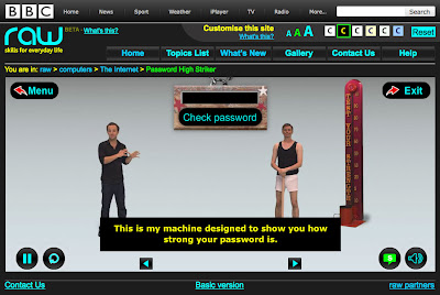 screen shot from BBC raw computers showing the presenter infront of a password testing game