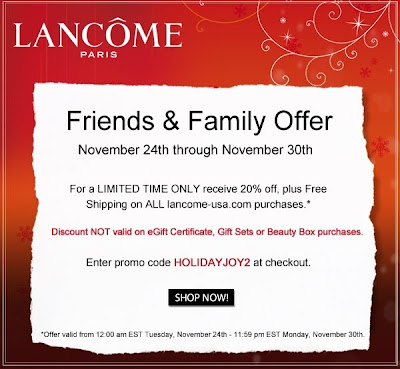 lancome+friends+and+family Lancome Friends & Family: 20% Off!