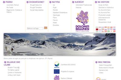 Parco delle Dolomiti il sito anche in lingua albanese