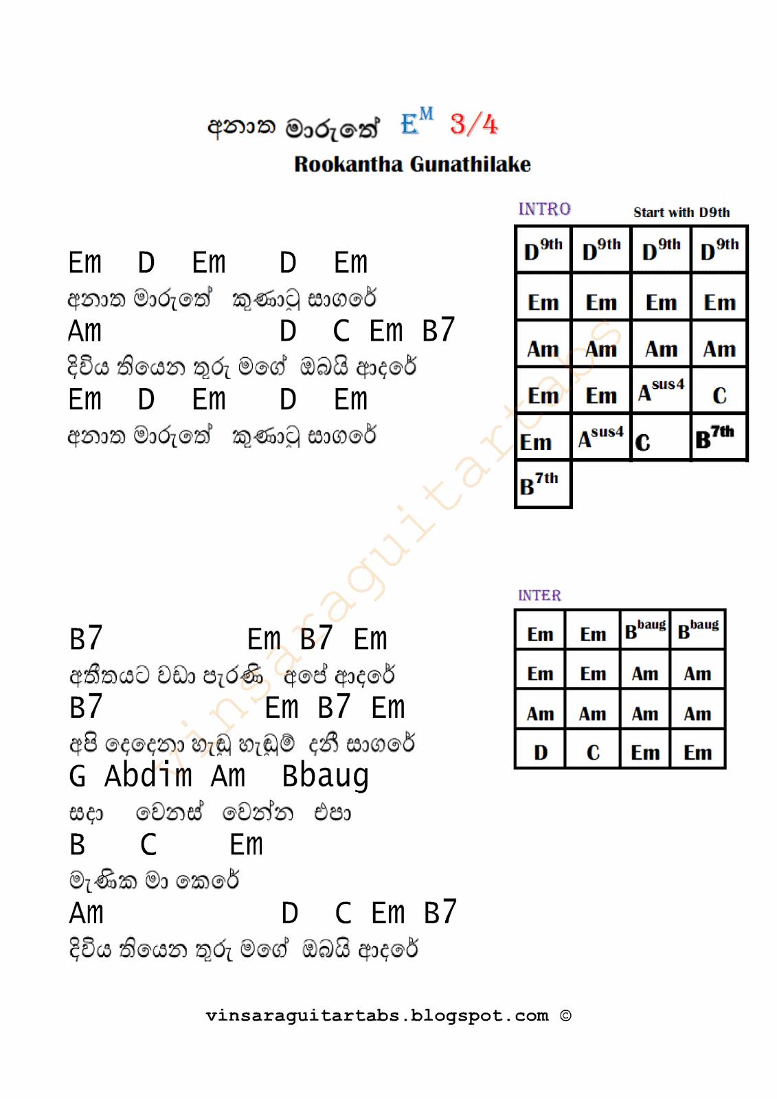 Anatha Maruthe -Rookantha Gunathilake : Sinhala Guitar Chords:Sinhala Songs Chords:Guitar Tabs ...